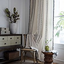QWC Voile Curtain Panel Geometric Curtains Fringed