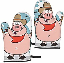QWERDF Cowboy Pig Character Shooting Oven Mitts