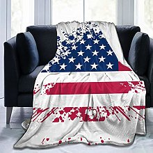 QWERDF Grunge American Flag Flannel Fleece Throw