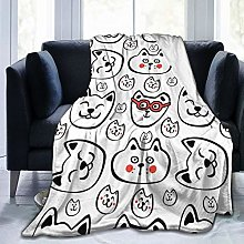 QWERDF Hand Drawn Cat Blanket Couch Sofa Soft Warm
