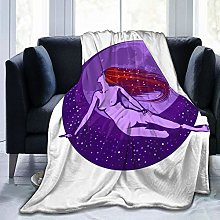 QWERDF Moon Goddess Flannel Fleece Throw Blanket