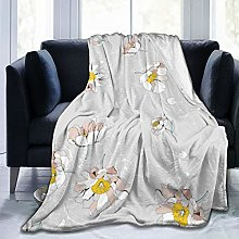 QWERDF Peonies Flowers Blanket Couch Sofa Soft