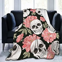 QWERDF Pink Peonies And Skulls Blanket Couch Sofa