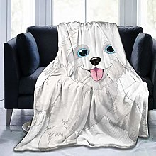 QWERDF Playful Lap Dog Flannel Fleece Throw