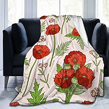 QWERDF Poppies Bohemian Blanket Couch Sofa Soft