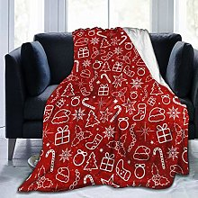 QWERDF Red Christmas Blanket Couch Sofa Soft Warm
