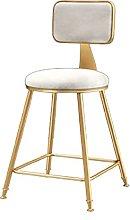 QWEZXCMI Bar Stool with Backrest, Nordic Velvet