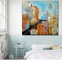 QWGYKR Abstract Building Painting Poster Print