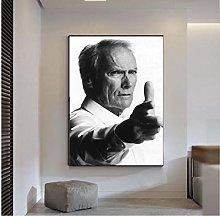 QWGYKR Clint Eastwood Art Print Canvas Poster Art