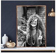 QWGYKR Janis Joplin Music Canvas Poster Art Print