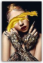 QWGYKR Modern Art Golden Cool Women Canvas Poster