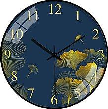 QWJYREMN Wall Clock Gold Color Ginkgo Blue