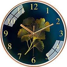 QWJYREMN Wall Clock Gold Color Ginkgo Decorative