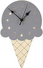 QWJYREMN Wall Clock Gray Leuke Houten Cartoon Ice