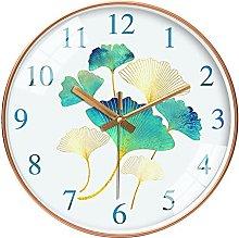 QWJYREMN Wall Clock Green Ginkgo Decorative Wall