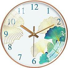 QWJYREMN Wall Clock Green Ginkgo White Decorative