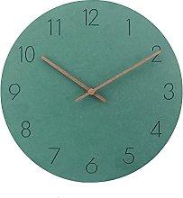 QWJYREMN Wall Clock Green Wooden Wall Clock Modern