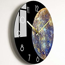 QWJYREMN Wall Clock Planet Pattern Black Bedroom