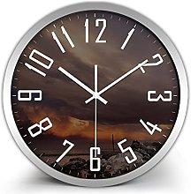 QWJYREMN Wall Clock Silver Color Border Decorative