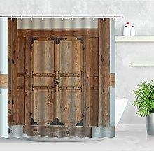 QWYEH Shower curtain Aged Gate Shower Curtain Set