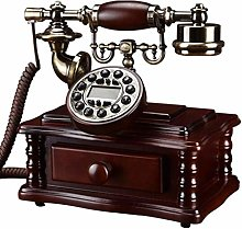 QY Landline Retro Telephone Upscale Solid Wood