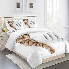 QZDUCN Duvet Cover Sets Baby Cot 3D Animal Kitty