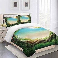 QZDUCN Duvet Cover Sets Baby Cot 3D Green Grass