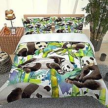 QZDUCN Duvet Cover Sets Baby Cot 3D Panda In Green