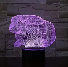 Rabbit Night Lamp 3D Illusion 7 Color Changing