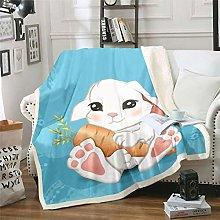 Rabbit Print Sherpa Throw Blanket Cute Cartoon