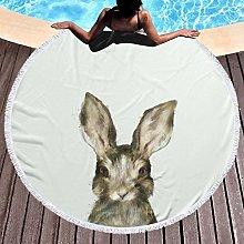 Rabbit Printed Round Beach Towel Yoga Picnic Mat
