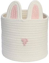 Rabbit Storage Basket , White/Pink