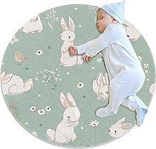 Rabbits, Round Rug Throw Area Rug Soft Fashion