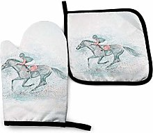 Race Horse Blots Oven Mitts and Pot Holders Sets,