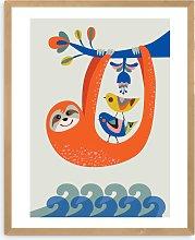 Rachel Lee - 'Sloth' Wood Framed Print, 52