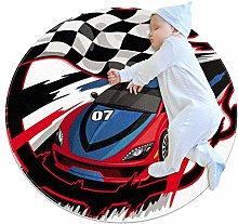 Racing Car Round Area Rug Machine Washable for