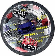 Racing Cartoon Red Crystal Drawer Handles