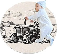 ractor, Kids Round Rug Polyester Throw Area Rug