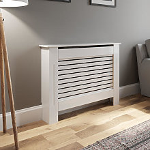 Radiator Cover Small - White Horizontal Style