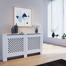 Radiator Covers Large Modern White Cross Slat