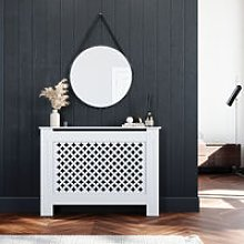 Radiator Covers Medium Modern Cross Slat White