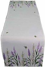Raebel Table Runner Lavender with Bee Linen Look