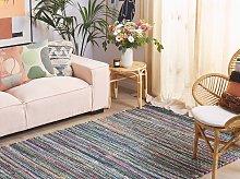 Rag Rug Blue Cotton 160 x 230 cm Rectangular