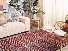 Rag Rug Multicolour Cotton 140 x 200 cm Striped