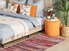 Rag Rug Multicolour Cotton 80 x 150 cm Striped