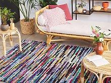 Rag Rug Multicolour with Cotton 140 x 200 cm