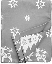 Ragged Rose Christmas Tablecloth, Cotton, Silver