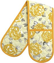 Ragged Rose Double Oven Glove, Cotton, Gold,