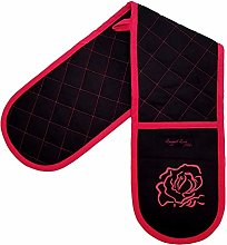 Ragged Rose Double Oven Gloves, Cotton, Black and