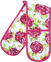 Ragged Rose Double Oven Gloves, Cotton, Pink,